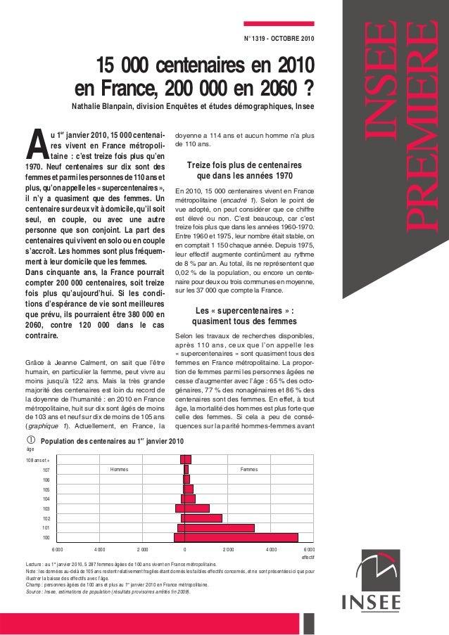 15 000 centenaires en 2010 en France, 200 000 en 2060 ? Nathalie Blanpain, division Enquêtes et études démographiques, Ins...