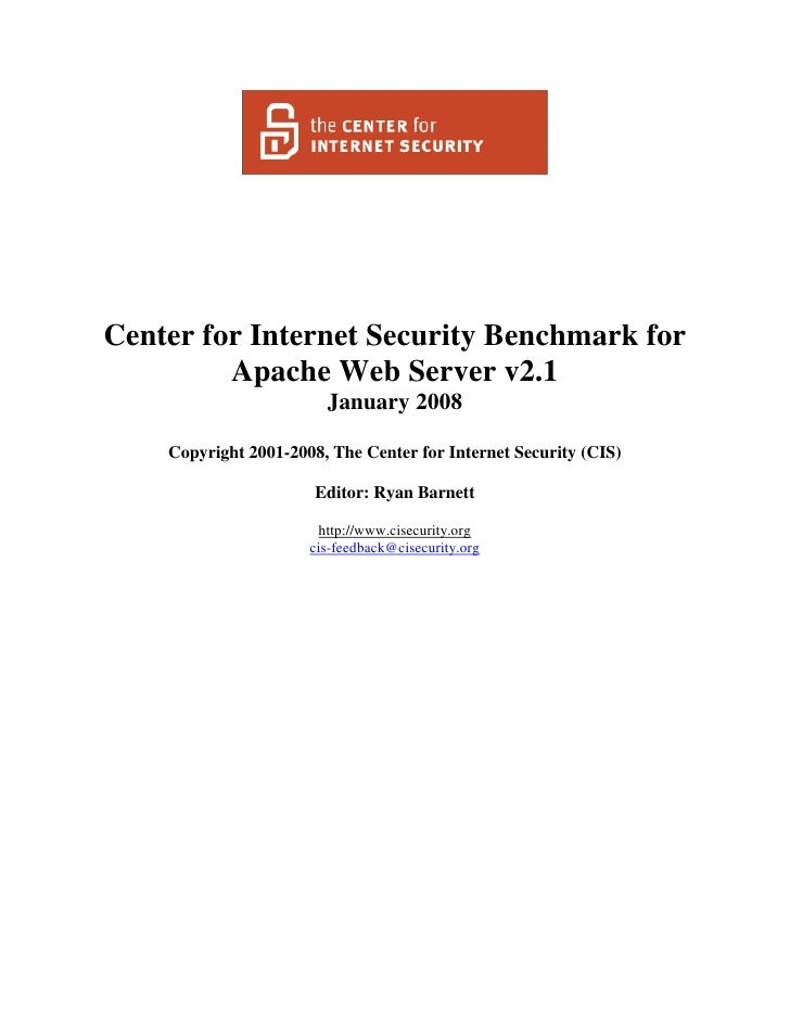 Center for Internet Security Benchmark for Apache Web Server v2.1