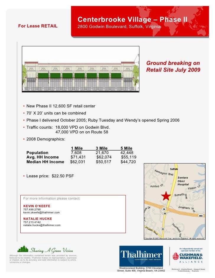 Centerbrooke Village – Phase II          For Lease RETAIL                                                   2800 Godwin Bo...