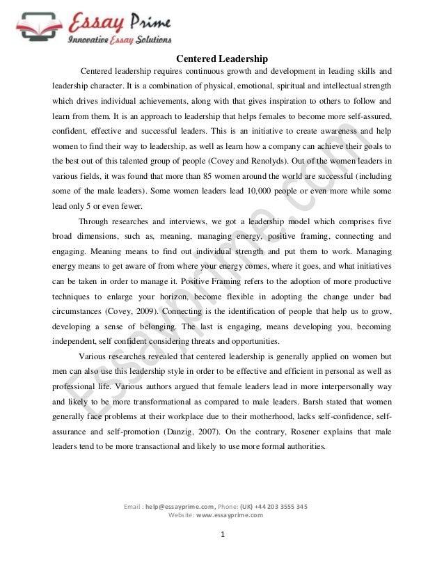 leadership essay characteristics of a