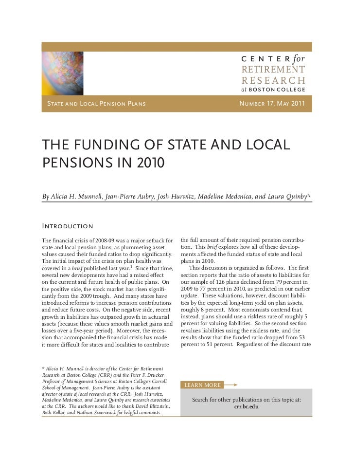 Center for retirement research funding report 110525