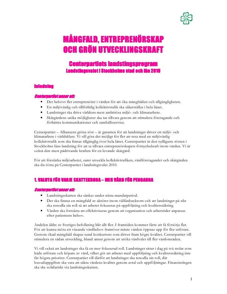 Centerpartiets landstingsprogram 2010 2014