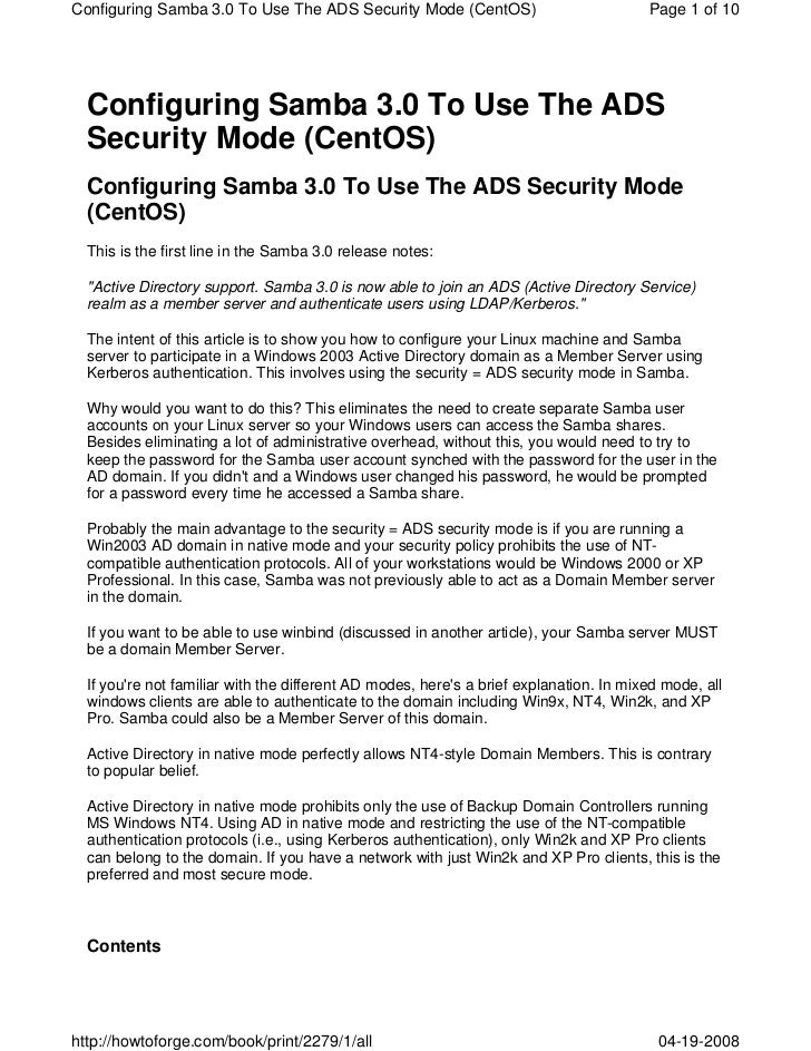 Cent os 5.1  - configuring samba 3.0 to use the ads security mode