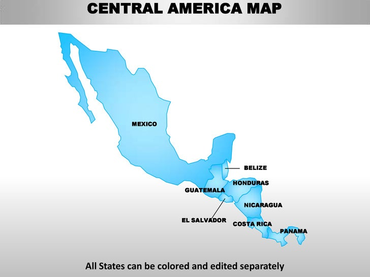 Central america editable continent map with countries