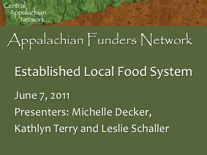 Appalachian Funders Network Established Local Food System June 7, 2011 Presenters: Michelle Decker, Kathlyn Terry and Lesl...