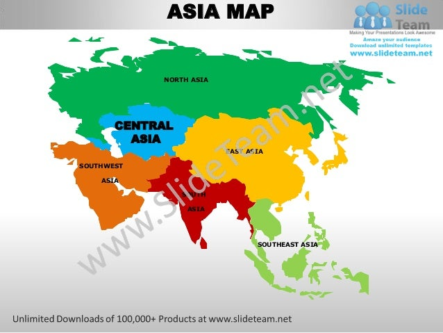 Central asia powerpoint editable continent map with