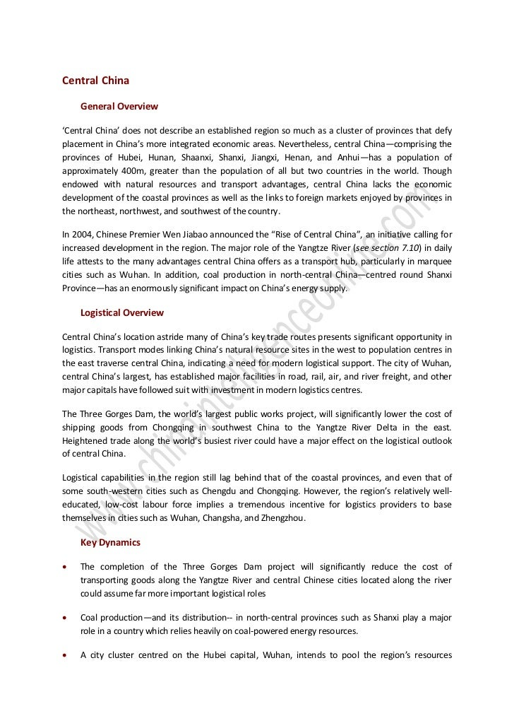 Central China     General Overview'Central China' does not describe an established region so much as a cluster of province...