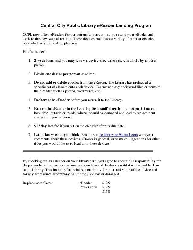 Central City Public Library eReader Lending Program
