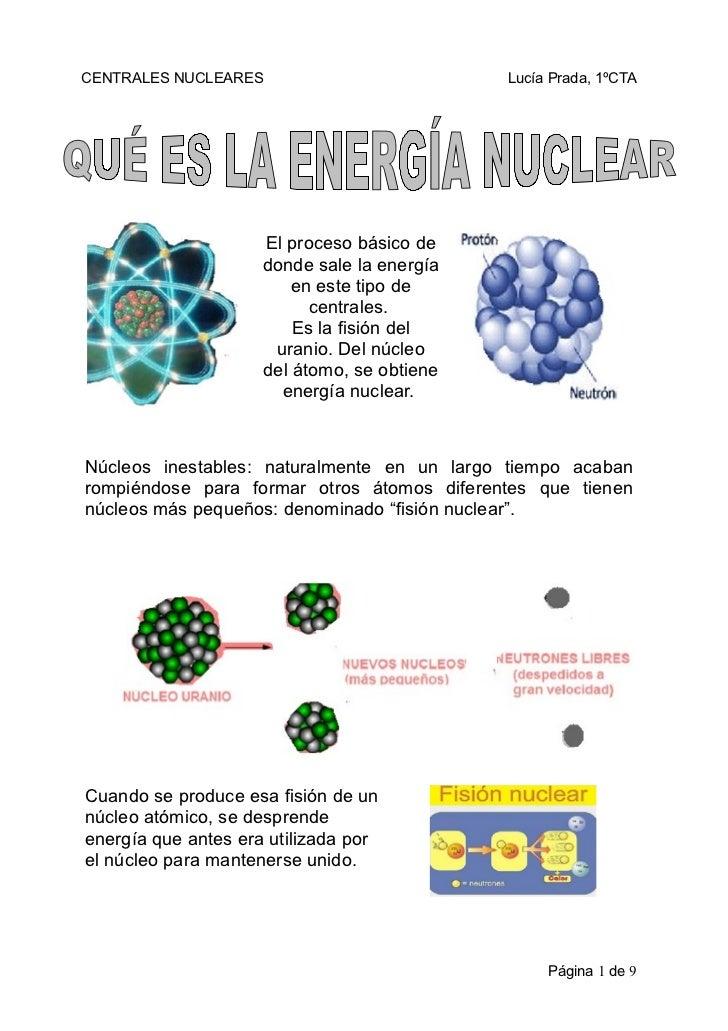 CENTRALES NUCLEARES                          Lucía Prada, 1ºCTA                     El proceso básico de                  ...