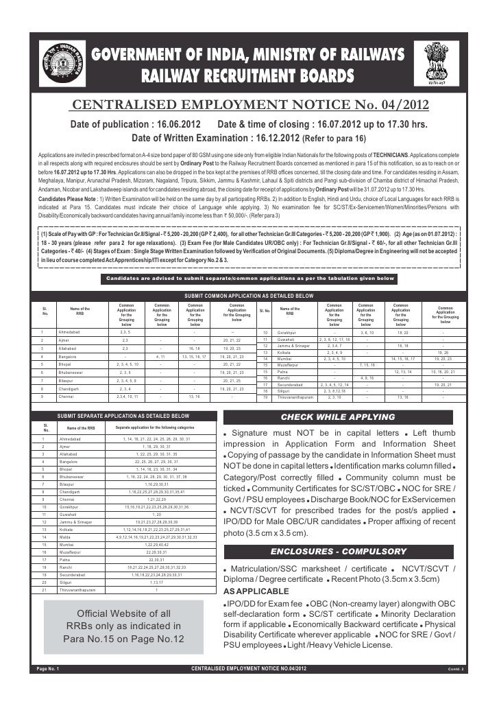 CENTRALISED EMPLOYMENT NOTICE No. 04/2012                     Date of publication : 16.06.2012   Date & time of closing : ...