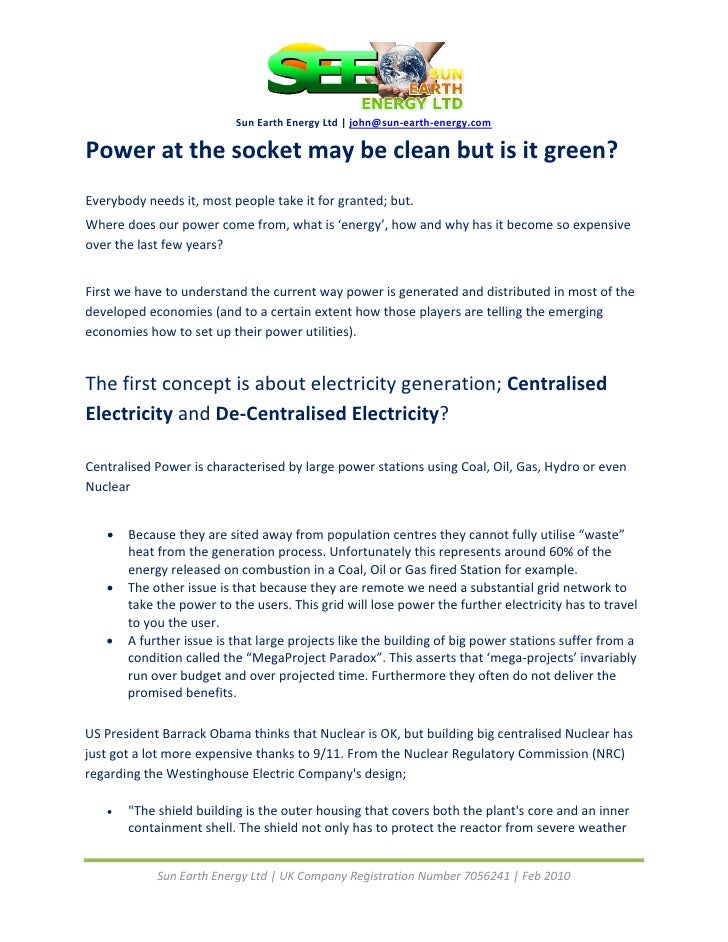 Sun Earth Energy Ltd | john@sun‐earth‐energy.com   Power at the socket may be clean but is it...