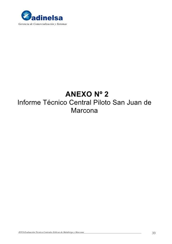 Gerencia de Comercialización y Sistemas                                                  ANEXO Nº 2 Informe Técnico Centra...