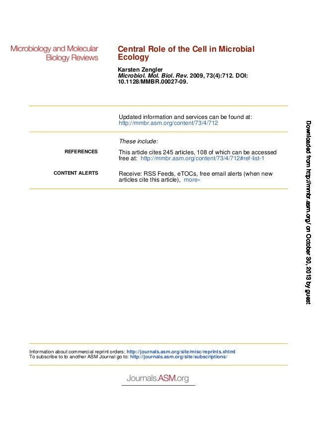Central Role of the Cell in Microbial Ecology Karsten Zengler Microbiol. Mol. Biol. Rev. 2009, 73(4):712. DOI: 10.1128/MMB...
