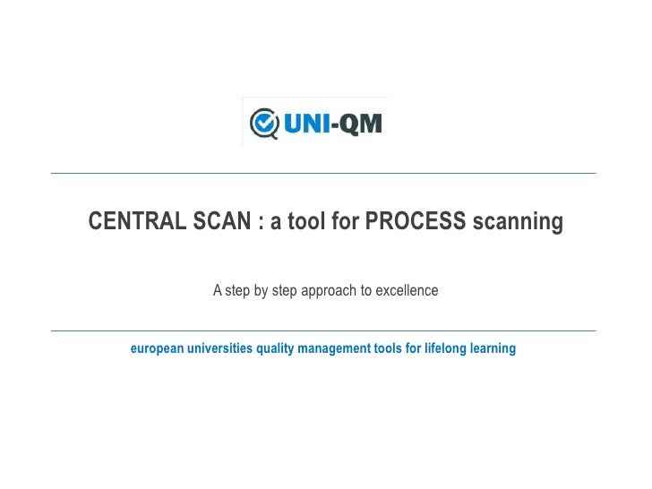 CENTRAL SCAN : a toolforPROCESSscanning<br />A stepbystepapproachtoexcellence<br />