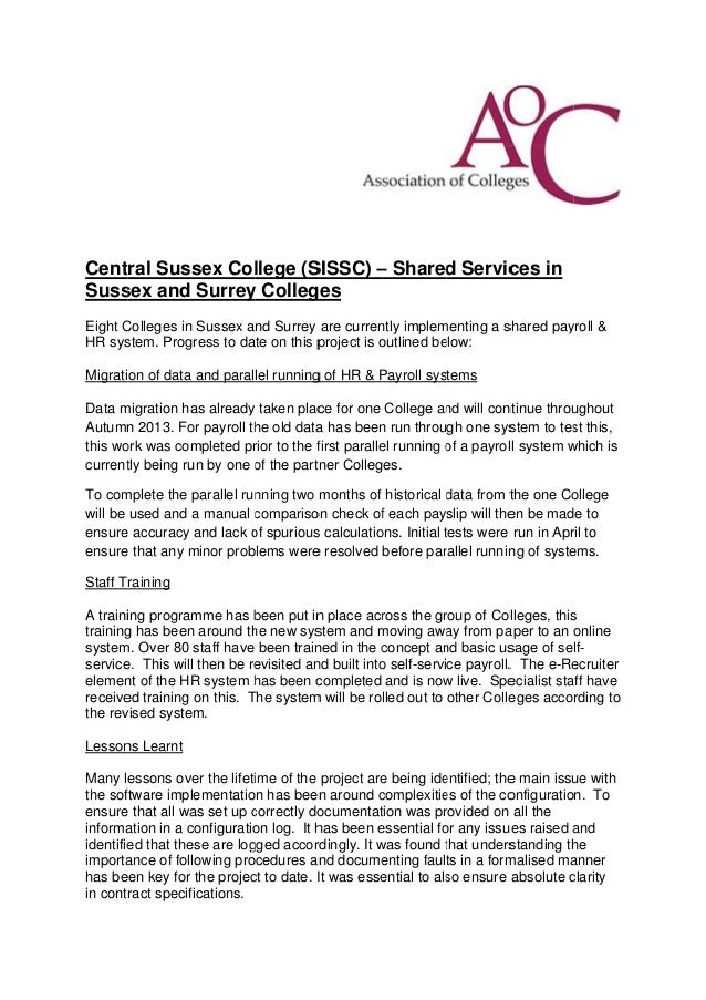 Central sussex college (ssissc)   shared services in sussex and surrey colleges