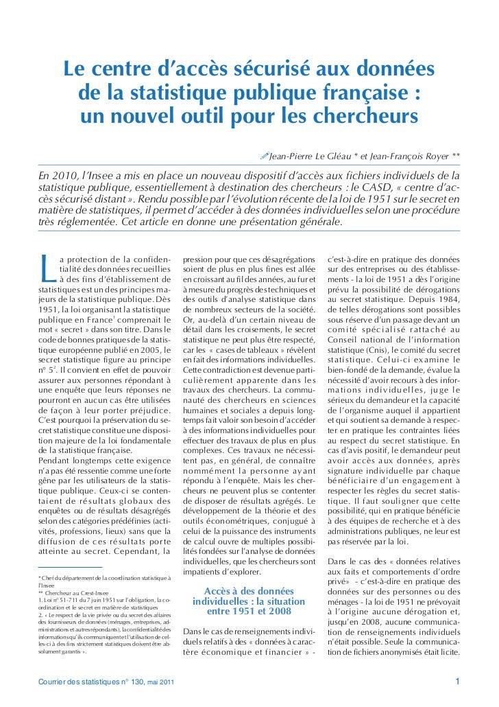 Le centre d'accès sécurisé aux données            de la statistique publique française :             un nouvel outil pour ...