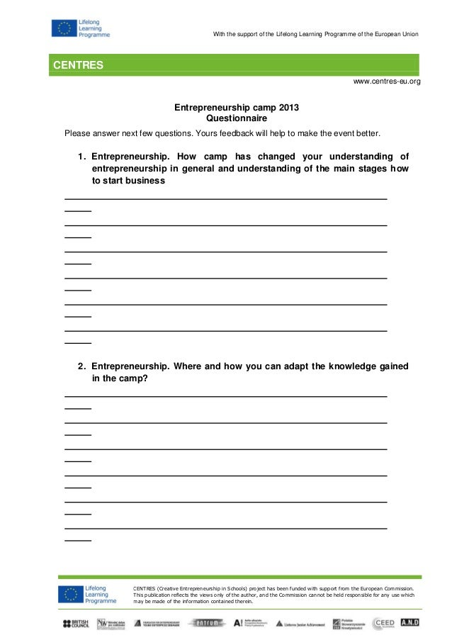 Centres Evaluation Questionnaire For The Students Summer Camp