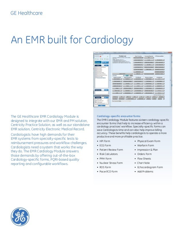 An EMR built for CardiologyCardiology-specific encounter formsThe EMR Cardiology Module features sixteen cardiology-specif...
