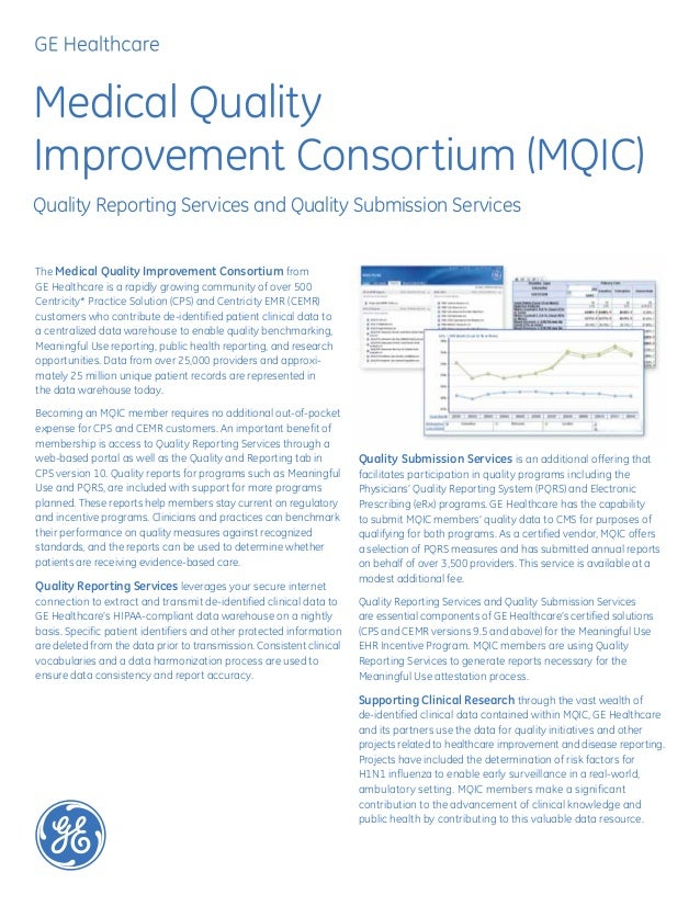 Medical QualityImprovement Consortium (MQIC)Quality Reporting Services and Quality Submission ServicesThe Medical Quality ...