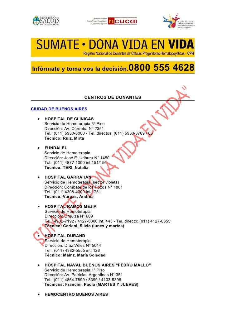 Infórmate y toma vos la decisión.                  0800 555 4628                           CENTROS DE DONANTESCIUDAD DE BU...