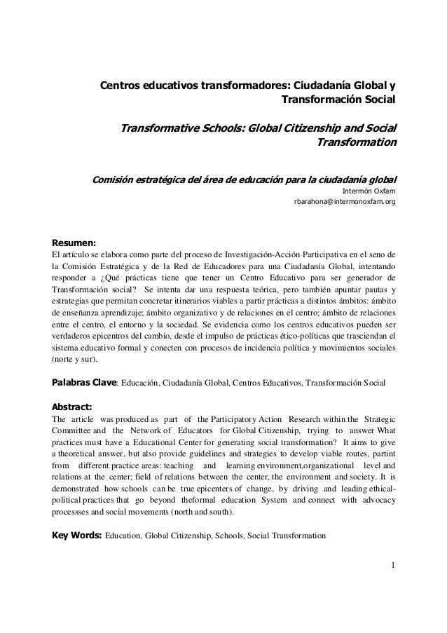 1Centros educativos transformadores: Ciudadanía Global yTransformación SocialTransformative Schools: Global Citizenship an...