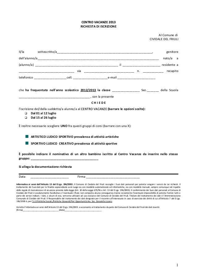 Centro Vacanze 2013 - Comune di Cividale - Moduli di Iscrizione