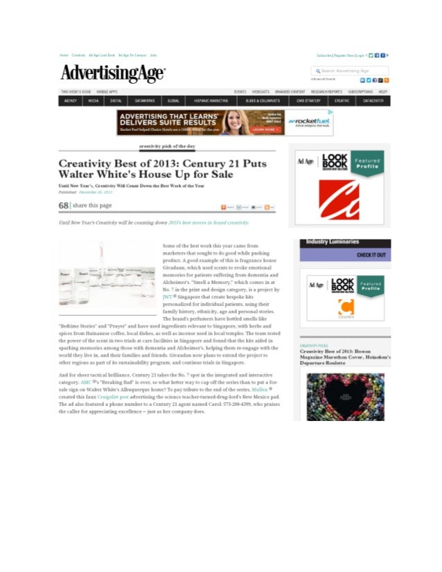 CENTURY 21 Social Recognized by Ad Age Creativity Best of 2013