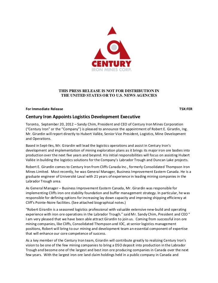 THIS PRESS RELEASE IS NOT FOR DISTRIBUTION IN                      THE UNITED STATES OR TO U.S. NEWS AGENCIESFor Immediate...