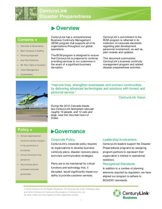 disaster preparedness and business continuity planning at boeing