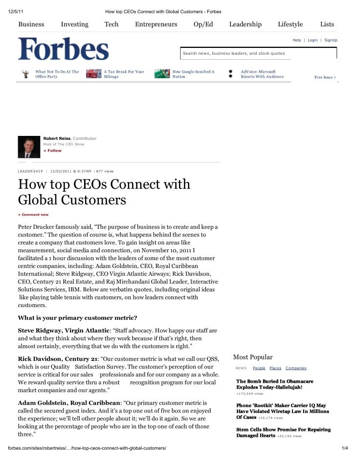 Forbes: How Top CEOs Connect with Global Customers