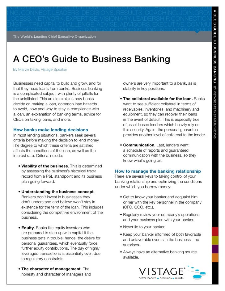 A CEOs Guide to Business Banking