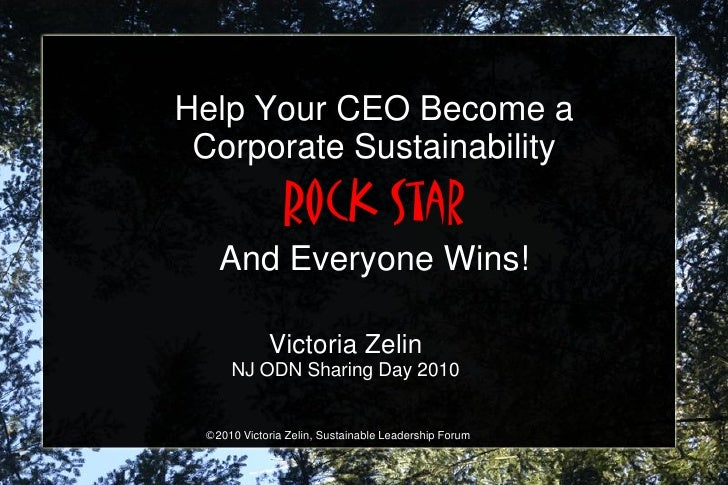 Help Your CEO Become a  Corporate Sustainability                Rock Star    And Everyone Wins!              Victoria Zeli...