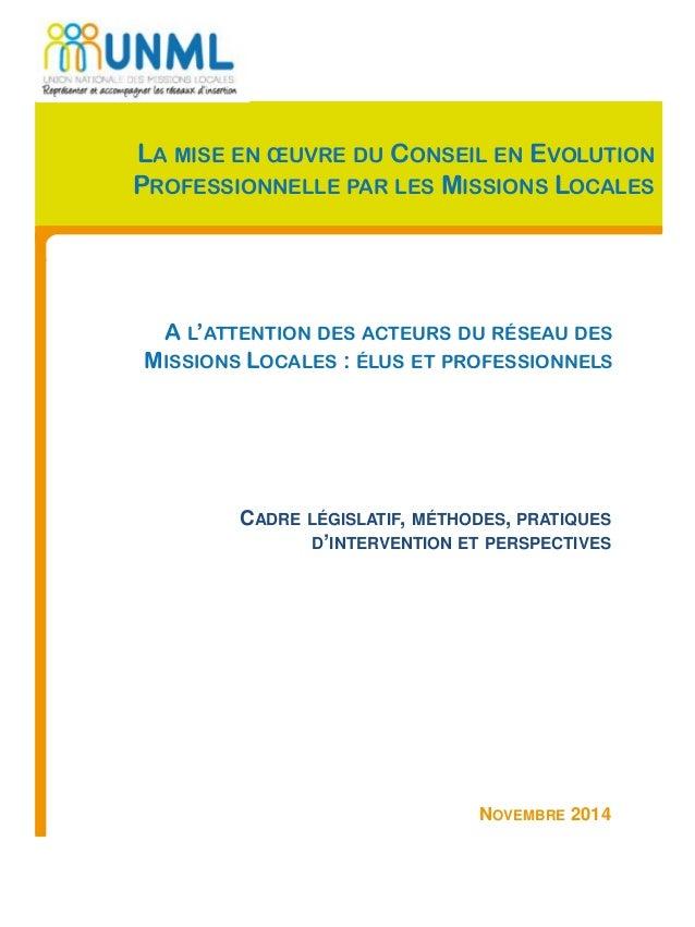 NOVEMBRE 2014 CADRE LÉGISLATIF, MÉTHODES, PRATIQUES D'INTERVENTION ET PERSPECTIVES LA MISE EN ŒUVRE DU CONSEIL EN EVOLUTIO...
