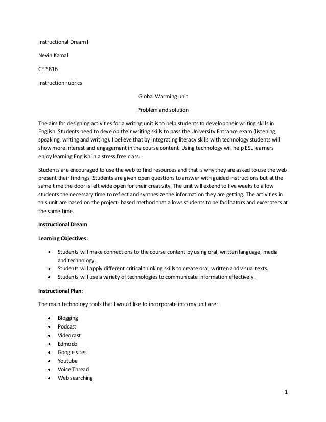 Instructional Dream IINevin KamalCEP 816Instruction rubrics                                            Global Warming unit...