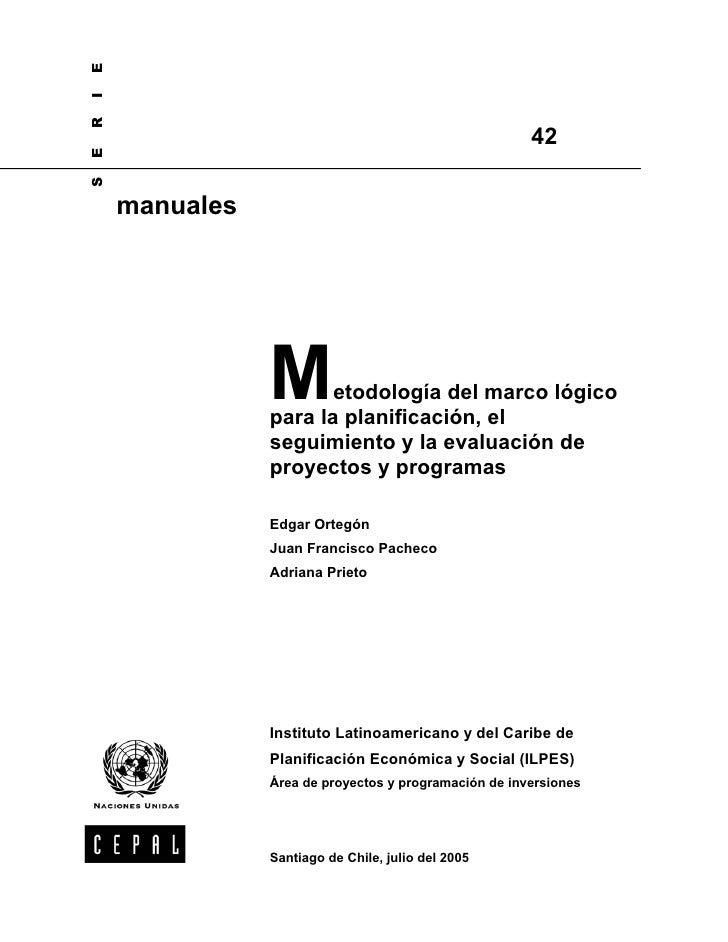 Cepal marco logico-metodologia manual nº 42