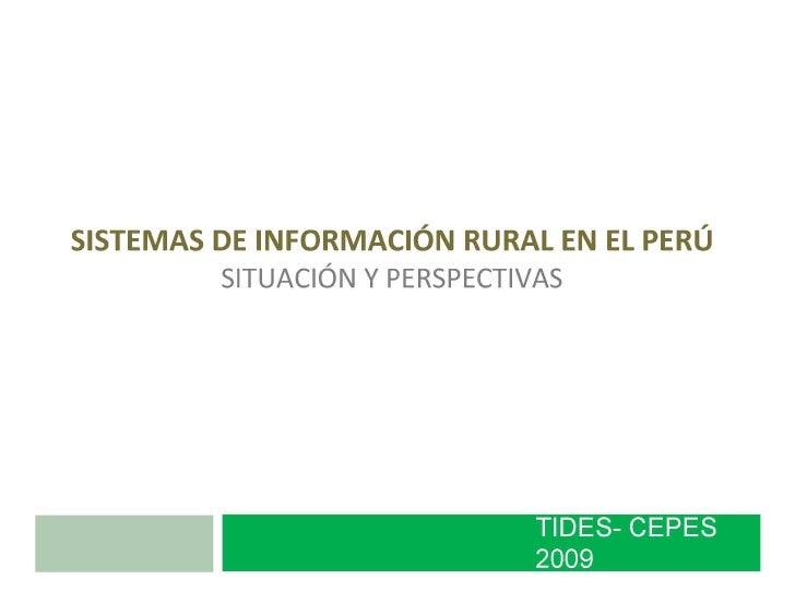 Sistemas de información rural en el Perú