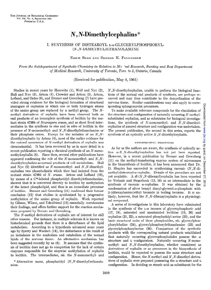 THE JOURNALOF BIOLOGICAL   CHEMISTRY    Vol. 236,No. 9, September 1961          Printed   in    U.S.A.                    ...