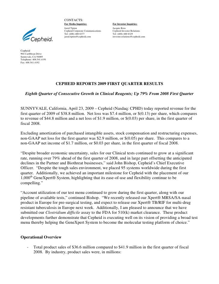 Q1 2009 Earning Report of Cepheid