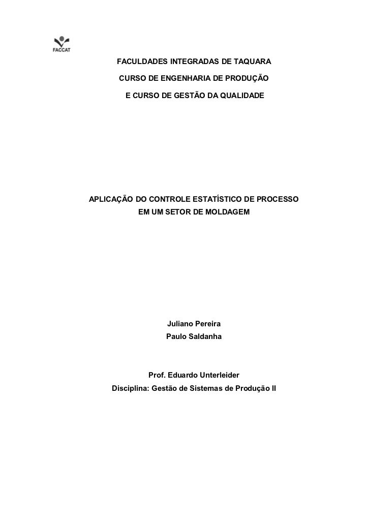 Aplicação do Controle Estatístico de Processo em um setor de Moldagem