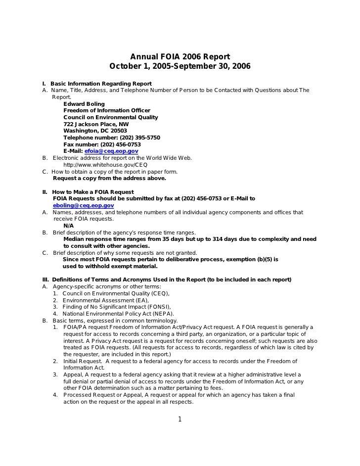 CEQ Annual FOIA 2006 Report