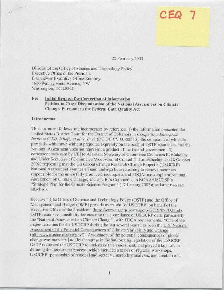 20 February 2003   Director of the Office of Science and Technology Policy  Executive Office of the President  Eisenhower ...