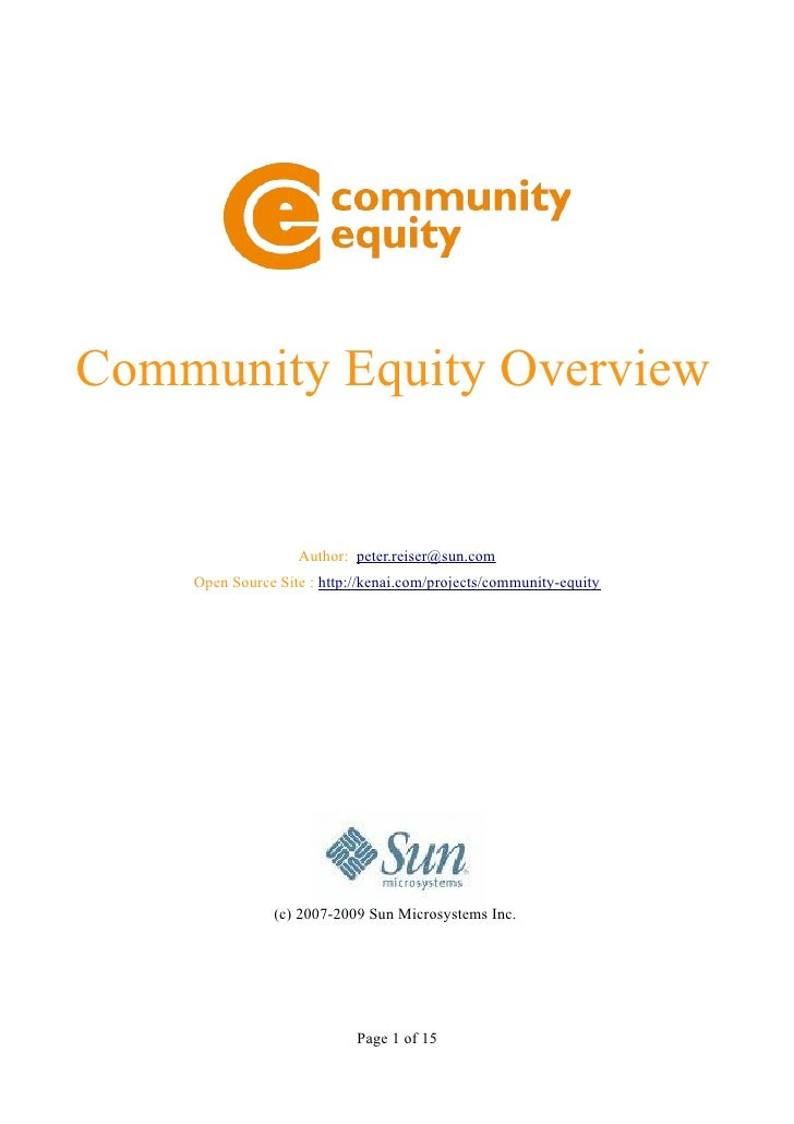 Community Equity Overview
