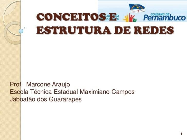 CONCEITOS E        ESTRUTURA DE REDESProf. Marcone AraujoEscola Técnica Estadual Maximiano CamposJaboatão dos Guararapes  ...