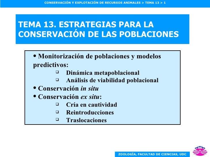 TEMA 13. ESTRATEGIAS PARA LA CONSERVACIÓN DE LAS POBLACIONES <ul><ul><li>Monitorización de poblaciones y modelos predictiv...