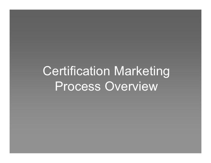Cerado Certification Marketing Process