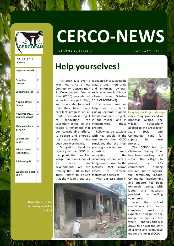 CERCO‐NEWS                                       VOLUME 3, ISSUE 1                                                      J ...