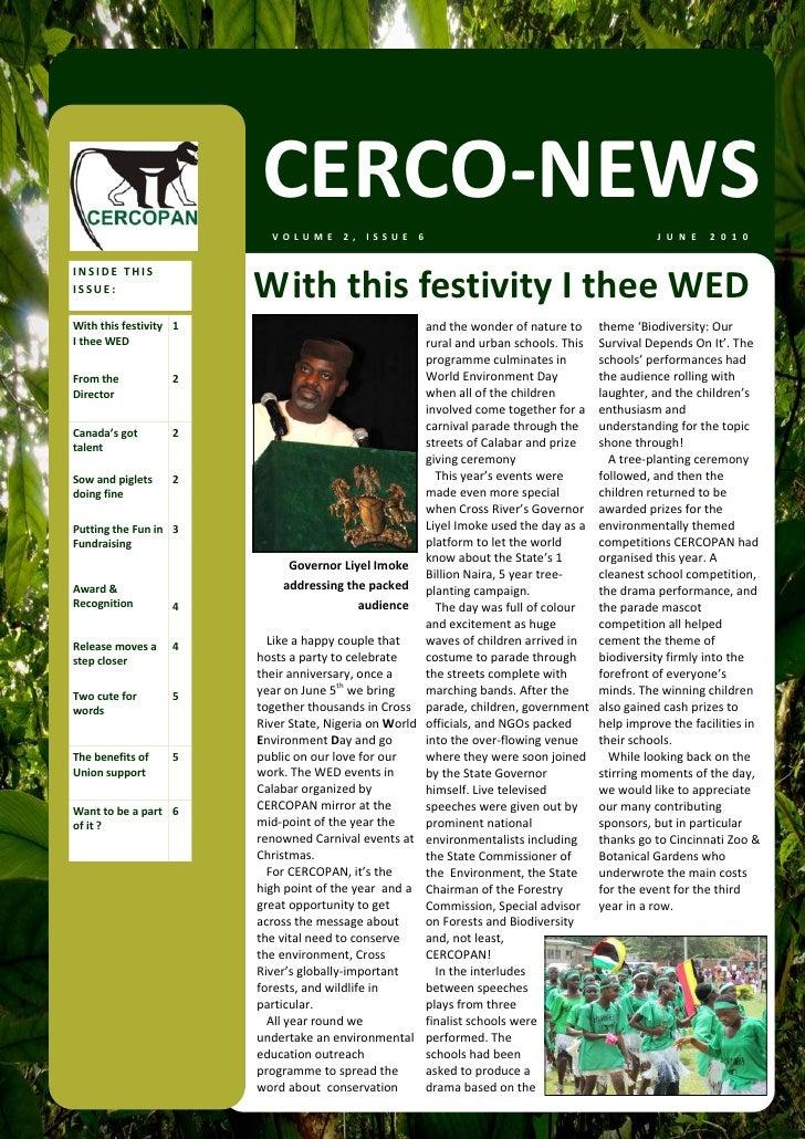 CERCO‐NEWS                             VOLUME2,ISSUE6                                                         J U N E ...