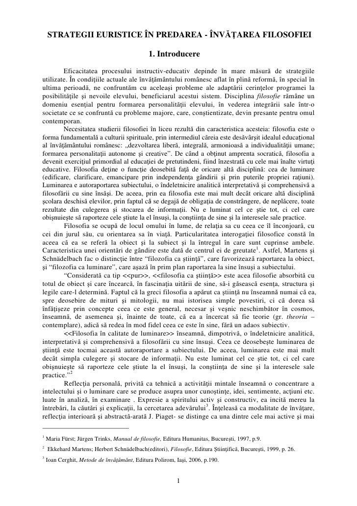 STRATEGII EURISTICE ÎN PREDAREA - ÎNVĂŢAREA FILOSOFIEI                                                1. Introducere      ...
