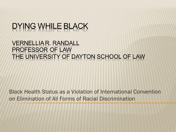Black Health Status as a Violation of International Conventionon Elimination of All Forms of Racial Discrimination