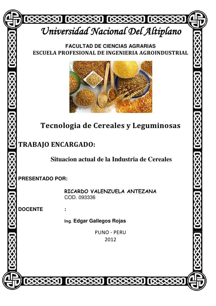 Universidad Nacional Del Altiplano               FACULTAD DE CIENCIAS AGRARIAS    ESCUELA PROFESIONAL DE INGENIERIA AGROIN...